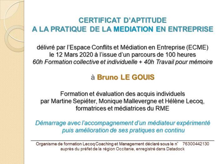 Certification «Médiateur en entreprise» réussie